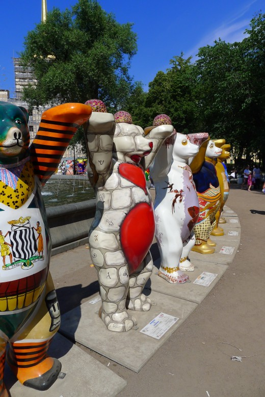 The United Buddy Bears visit St. Petersburg, Russia in 2012.