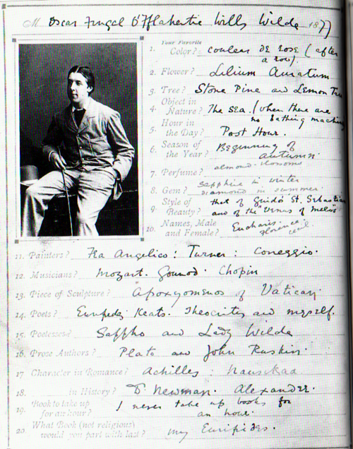 Oscar Wilde's guided journal.