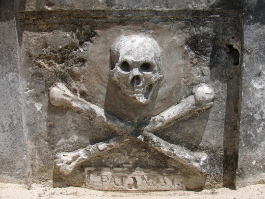 Mundaca built his own tomb, while he was still alive. It was even decorated with a cross and skullbones as depicted here.