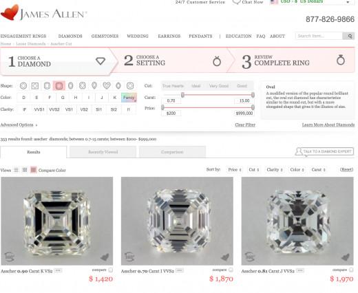 Visit JamesAllen.com to shop their selection of asscher cut diamonds.