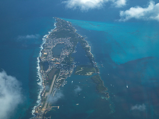 Isla Mujeres as seen from the air