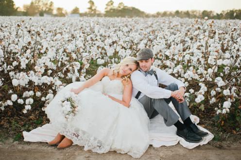 Posing by  a beautiful cotton field