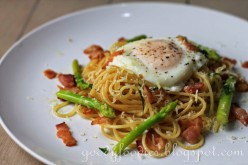 Make your own simple Linguine dish with eggs, bacon and mushroom