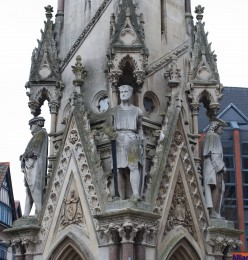 Statues on the Haymarket Memorial Clock Tower, Leicester