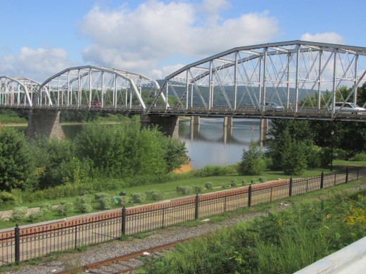 A picture of the bridge that I took the first picture from, the river in the distance.