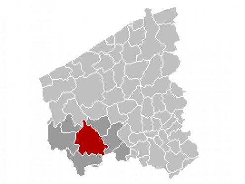 Map location of Ypres, Belgium
