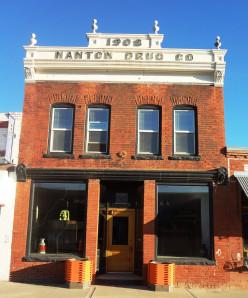 Façade of the Nanton Drug Co. Building in Nanton's Main Street