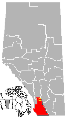 Map location of Nanton, Alberta