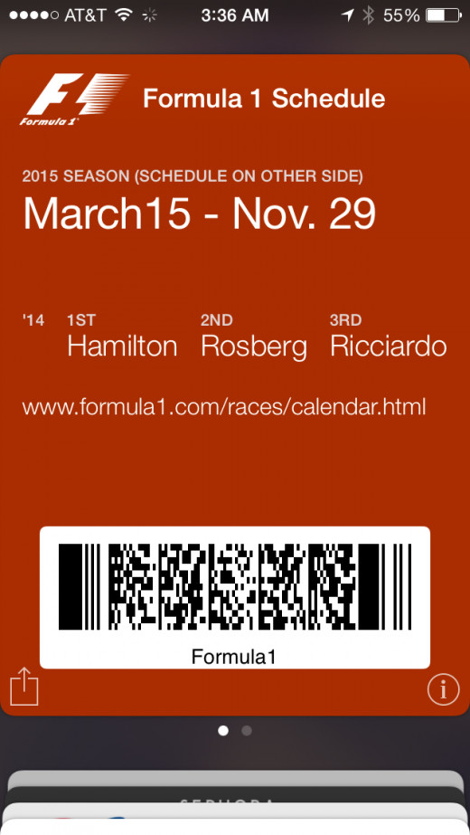 F1 passbook pass front screenshot