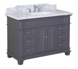 The KBC Elizabeth Vanity has classic PB cottage style and an updated grey painted finish