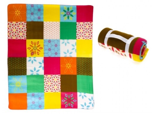 Patchwork style fleece throw