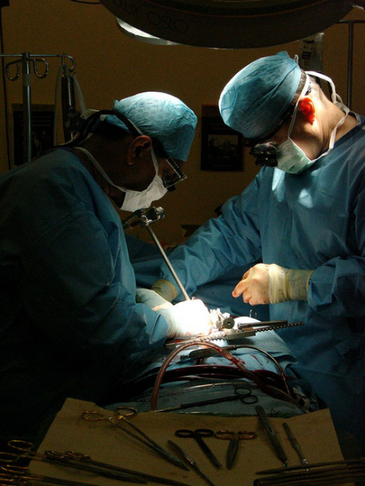 Heart surgeons performing an operation.