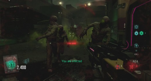 Getting infected starts are zombie transformation countdown.