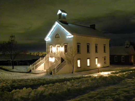 Holiday lighting on Historic Schoolhouse, This is the Place park, UT