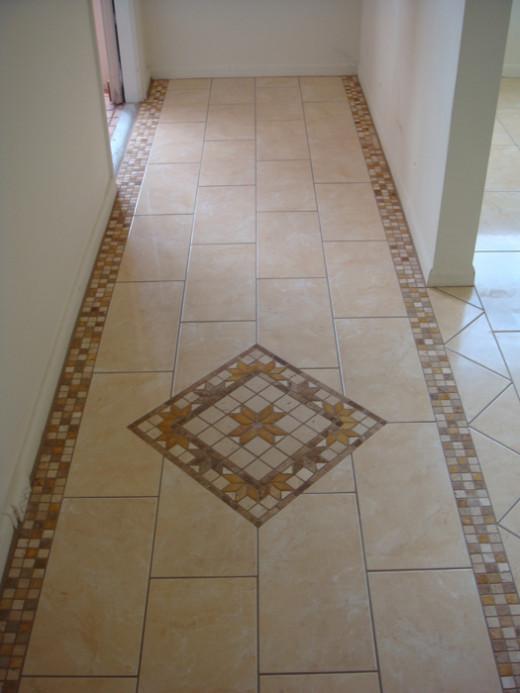 A design put in a tile floor.