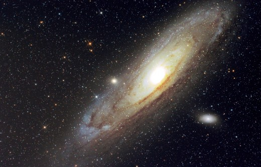 The Andromeda Galaxy is the nearest major galaxy to the Milky Way.  It is located approximately 2.5 million light years from Earth.