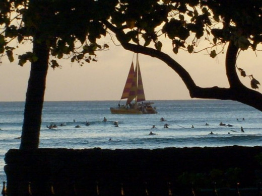 Dark tree branches and leaves surround the distant focal point of the sailboat. The darkness of the tree helps make it invisible to the focus.