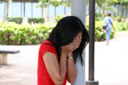 Defeated body language is the most frequently visible sign of emotional abuse.