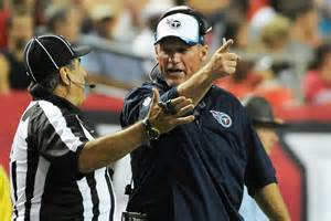 Head Coach Ken Wisenhunt arguing a call.  I'm going to guess he lost the argument and the game.
