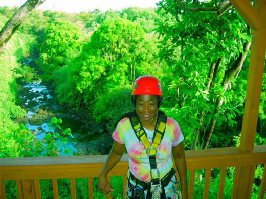 Me, about to go zip lining, on my 50th birthday.