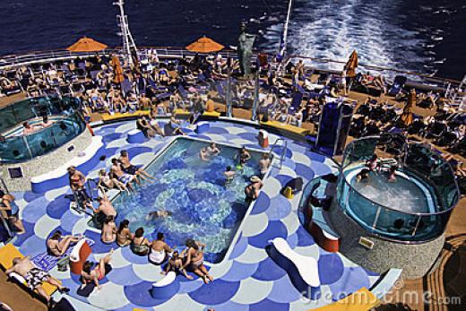 Sunbathing on a cruise ship