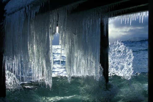 Curtain of icicles under the boat ramp in early morning