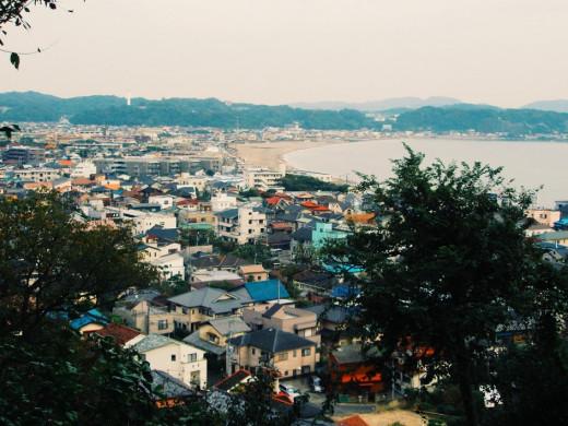 View of Kamakura and its beach