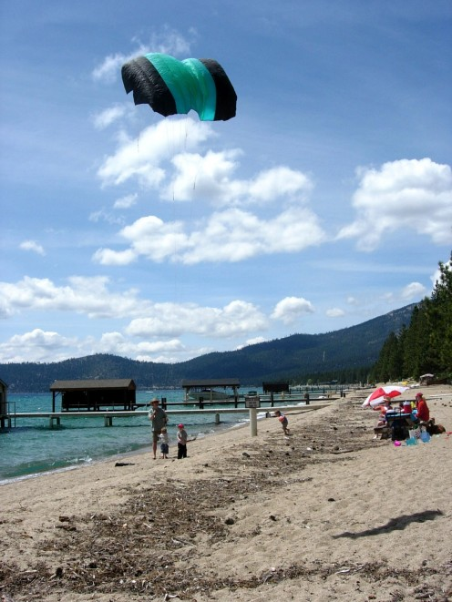 Kite Flying at Vyvyan Beach in summer
