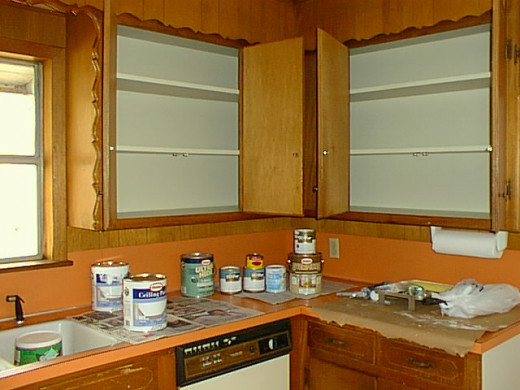 A lot of work went into cleaning and painting the inside of the cabinets.