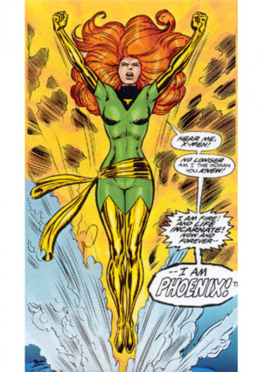 Jean Grey / The Phoenix comic book page.