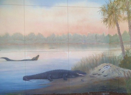 This is a mural at Gatorland. Notice the baby alligators that just hatched out.