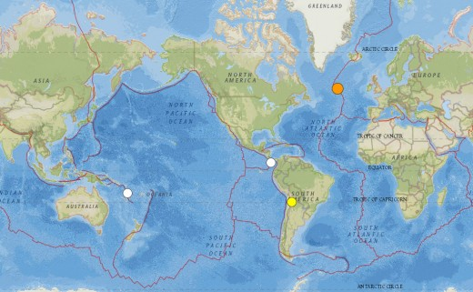 Worldwide earthquakes of at least 6.5 magnitude for the period beginning January 1st, 2015 and ending February 13th, 2015.