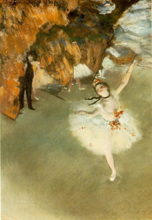 One of my favorites! The dancer looks exquisite while Degas wants the viewer of the painting aware of the viewers backstage. He blurs them with one of his techniques he experimented with to make sure the focus is on the dancer.