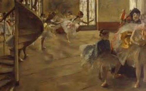 Degas liked to show the work the dancers went through in rehearsal - here I love the curve of the staircase as it adds to the energy and movement of the scene.