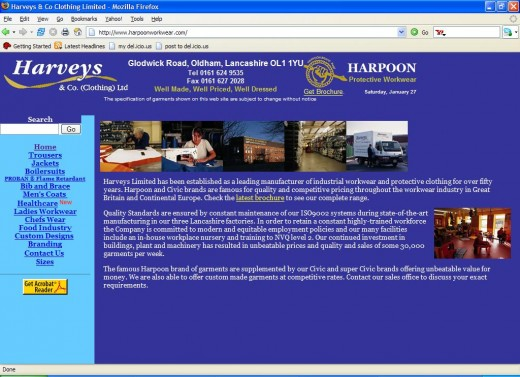 "Here is the real ""Harveys & Co (Clothing) Ltd"" site where you can actually order merchandise and email the company."