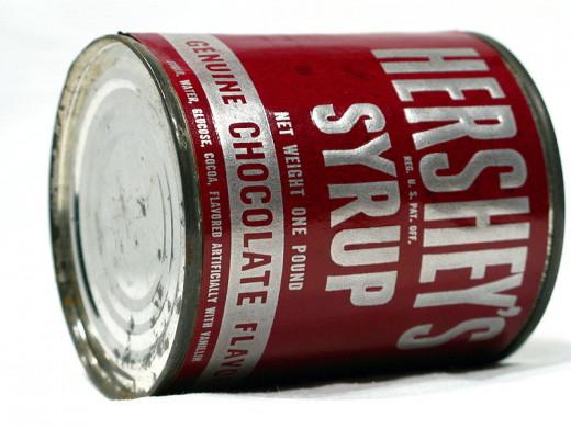 Vintage Hershey's chocolate syrup tin.