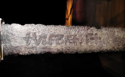 A ninth-century Viking sword with +ULFBERH+T etching clearly visible.