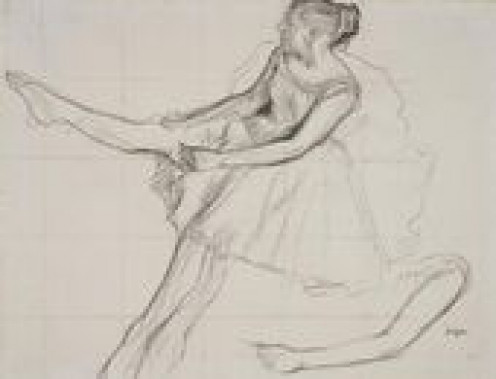 I apologize I could not find the one study Degas did of a dancers hand and wrist to finish the figure but this is still is a good example using the arm.