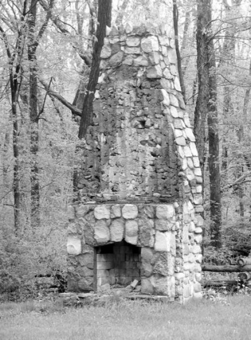 This lone chimney & fireplace along a stretch of S.Jackson Road that used to be part of US 127; photo by Ken Wyatt