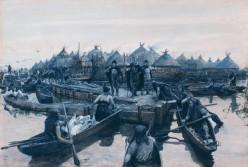 Glastonbury Lake Village landing stage by Amédée Forestier, 1911 (public domain)