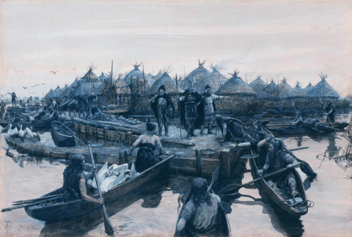Glastonbury Lake Village landing stage by Amédée Forestier, 1911 (public domain)
