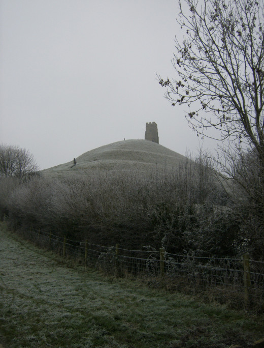 A cold and misty Tor, showing the old Church Tower