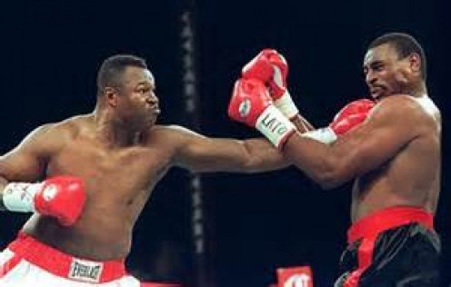 Larry Holmes, even in his late 40's had a textbook left jab which he is seen here demonstrating on the face of The Atomic Bull.