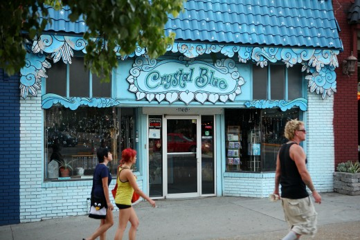 A New Age shop in Little Five Points with the name Crystal Blue. A simple but unique name for a store.