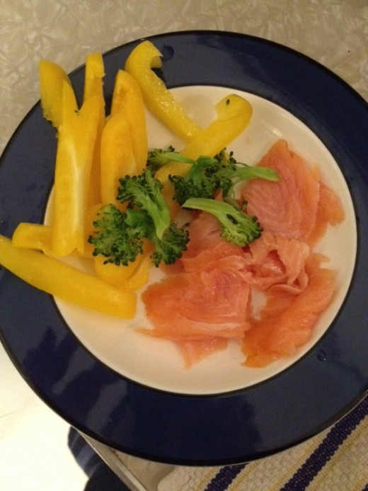 This was delicious!  Smoked salmon felt like a major treat, but it's low calorie and filling.
