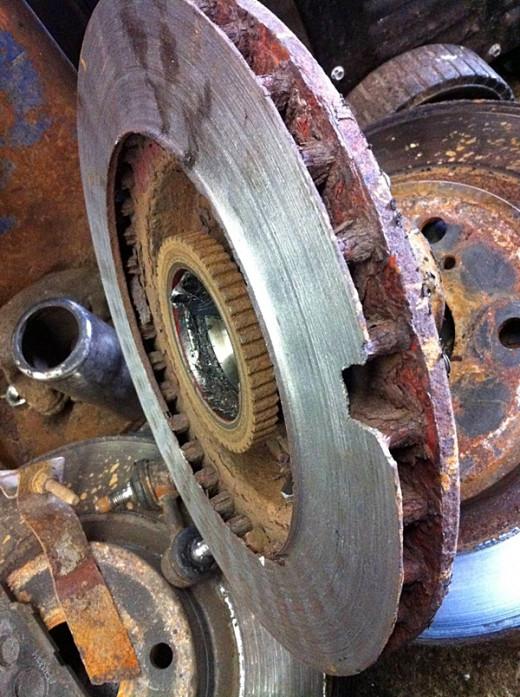 Worn brake disc