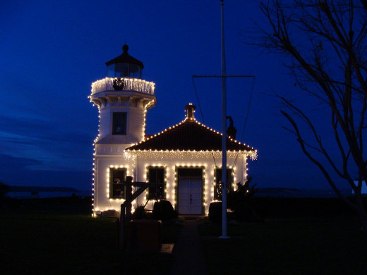 Lighthouse at Christmas.