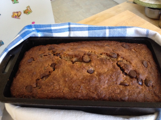 Chocolate chip banana bread, hot from the oven