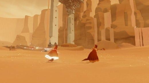 A screenshot of two players in Journey.