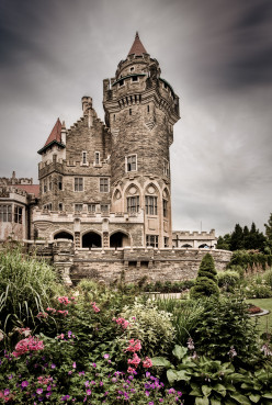 View from the gardens (August 2009), Casa Loma, 1 Austin Terrace, Toronto, Ontario, Canada.